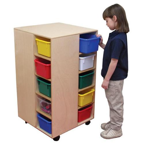 Wood Designs 61401 - Space-Saver Cubby Spinner With 20 Clear Trays