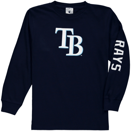Tampa Bay Rays Soft as a Grape Youth Sleeve Hit Long Sleeve T-Shirt - Navy