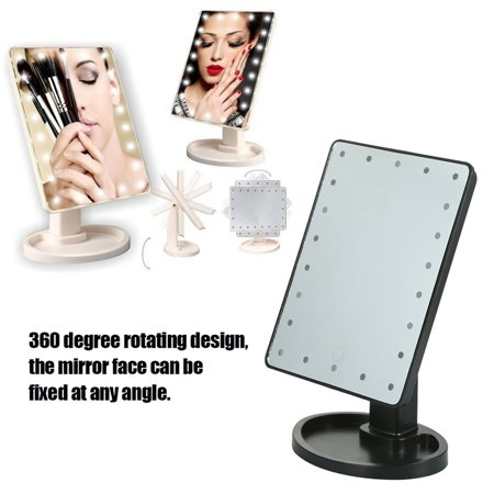 Table Desktop Vanity Mirror, 22 Led Cosmetic Mirror, Brightness Adjustable, Tray Detachable, Portable 360° Rotatable Mirror, High-definition Touch Switch Vanity Mirror + 10X Magnifying Round Mirror