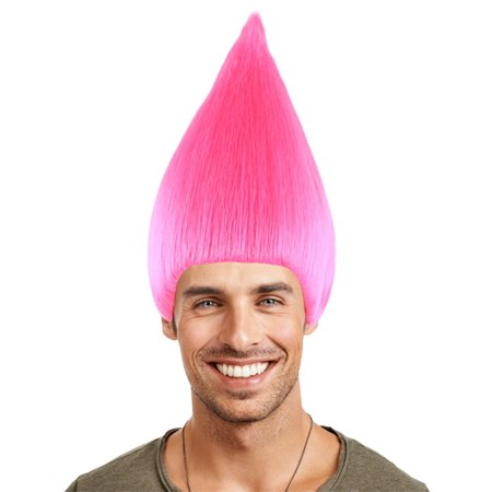Troll Wig, Neon Pink Kids - Neon Pink Wigs