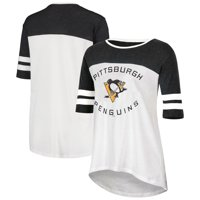 Women's Heathered Black/White Pittsburgh Penguins Oversized Tunic 1/2-Sleeve T-Shirt