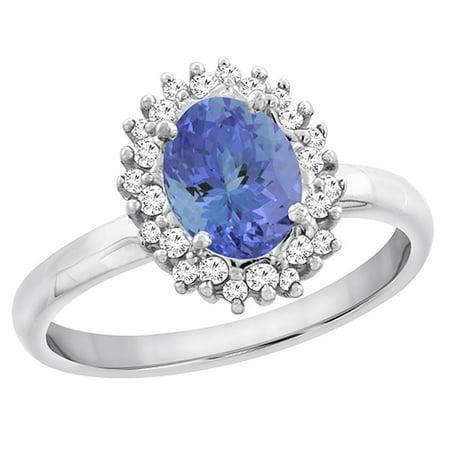 - 14K Yellow Gold Diamond Natural Tanzanite Engagement Ring Oval 7x5mm, size 6