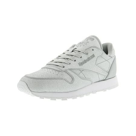 Reebok Women's Cl Leather Syn Diamond - Silver Metallic / Grey White Ankle-High Fashion Sneaker 8M