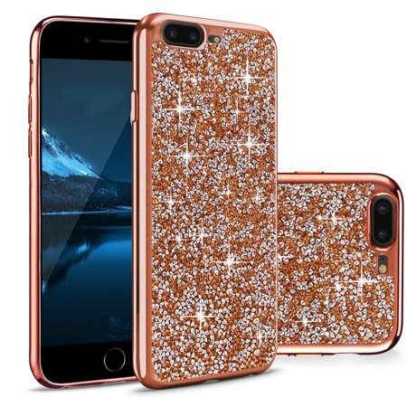 Rhinestone Back Case (iPhone 7 Plus Case, Cellularvilla [Slim Fit] Luxury Bling Rock Crystal Rhinestone Diamond Case [Shockproof] Electroplated Soft TPU Bumper Back Cover for Apple iPhone 7 Plus 5.5)