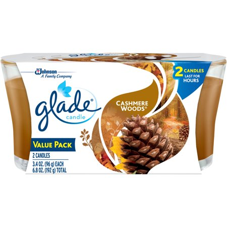 Glade Jar Candle Air Freshener, Cashmere Woods, 6.8oz, 2 ct