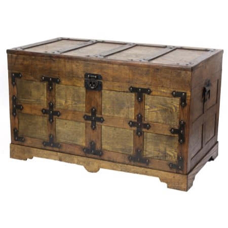 Rustic Natural Wooden Streamer Trunk with Studded detail, Medium (Rustic Trunk)