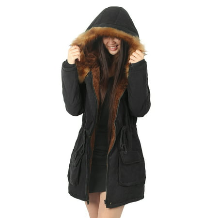 iLoveSIA Womens Hooded Coat Faux Fur Lined Jacket Black