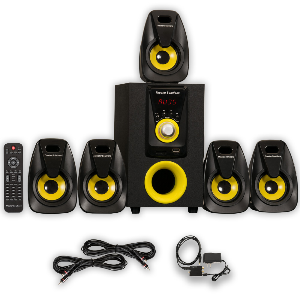 Theater Solutions TS522 Home Theater 5.1 Speaker System with Optical Input and 2 Extension