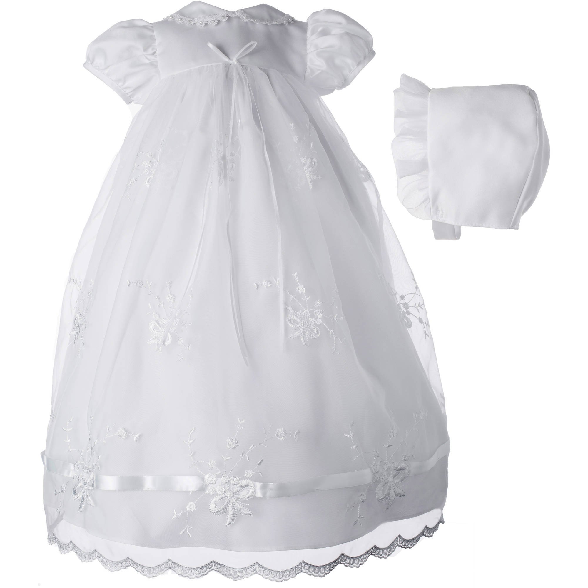 Christening Baptism Newborn Baby Girls' Special Occasion Girls Long Organza Embroidered Dress With Ribbon Beaded Trim