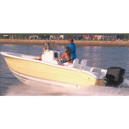 Carver Styled-to-Fit Cover for V-Hull Center Console Fishing Boat with High Bow Rails, Haze (V-hull Center Console)