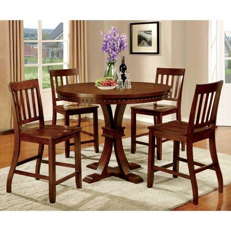 Furniture of America Jenit Industrial 5-Piece Counter Height Dining Set, Dark Oak