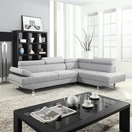 Divano Roma Furniture Modern Contemporary Linen Sectional Sofa With