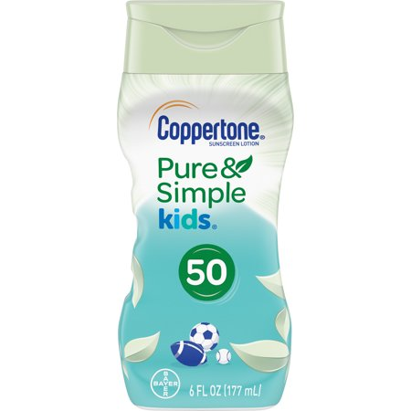 Coppertone Pure & Simple Kids SPF 50 Sunscreen Lotion, 6 Ounce