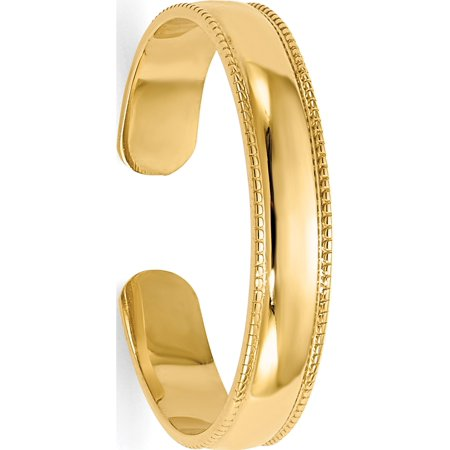 14k Yellow Gold Mill Grain Adjustable Toe Ring