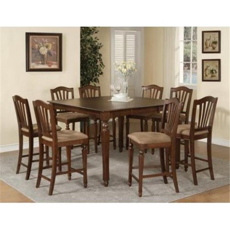 East West CT-MAH-T Chelsea Gathering 54 in. square counter height dining table with 18 in. butterfly leaf, Mahogany
