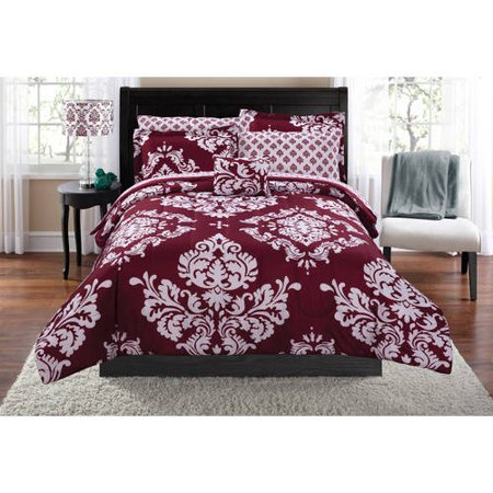 Mainstays Classic Noir Red Bed In A Bag Coordinating Bedding Set