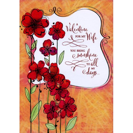 Designer Greetings Red Flowers with Long Stems: Wife Valentine's Day Card