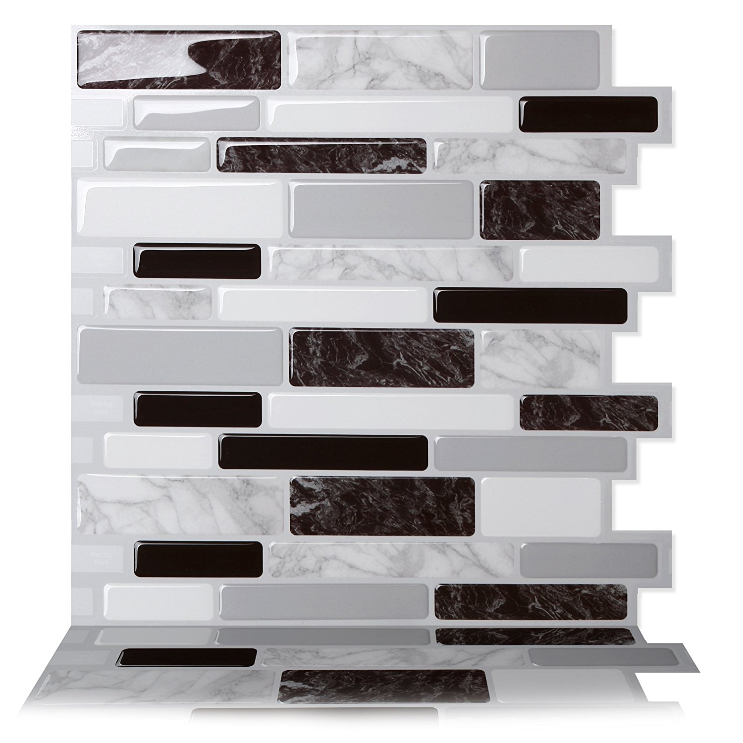 Tic Tac Tiles - Premium Anti Mold Peel and Stick Wall Tile Backsplash in Polito Black and White
