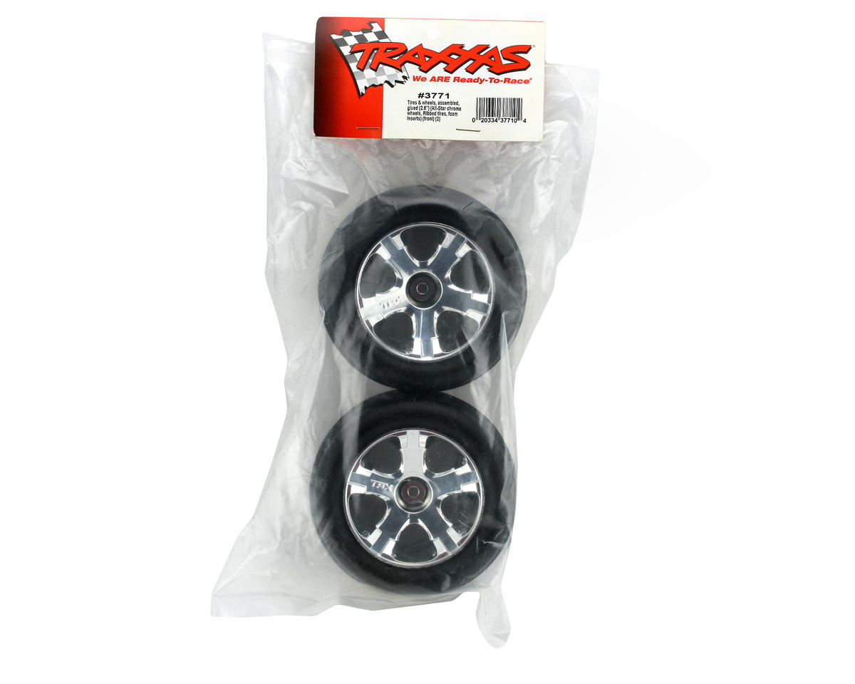 Traxxas 3771 Front Alias Ribbed Tires Pre-Glued on 2.8 Chrome All ...