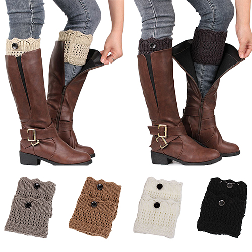 Girl12Queen Women Ladies Winter Leg Warmers Button Crochet Knit Boot Socks Toppers Cuffs