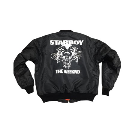The Weeknd Starboy MA-1 Black Bomber jacket (White Print)