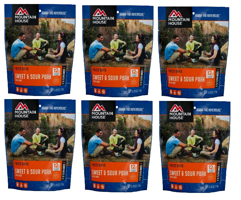 Mountain House Freeze Dried 6 Food Pouches Sweet & Sour Pork with Rice by Mountain House