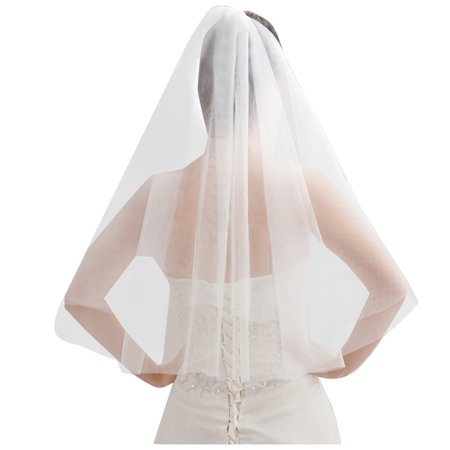 Pretty See Inserted Wedding Veil Holy Tulle Veil Beautiful Bridal Wedding Veil with Comb, Perfect for Wedding and Dress Collocation, White