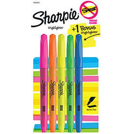 Value 5 Pack Sharpie Assorted Highlighters, Narrow Chisel Tip, 5 Per Pack, Pink, Orange, Yellow, Green and Blue (1963990) - Highlighter Micro Chisel Tip