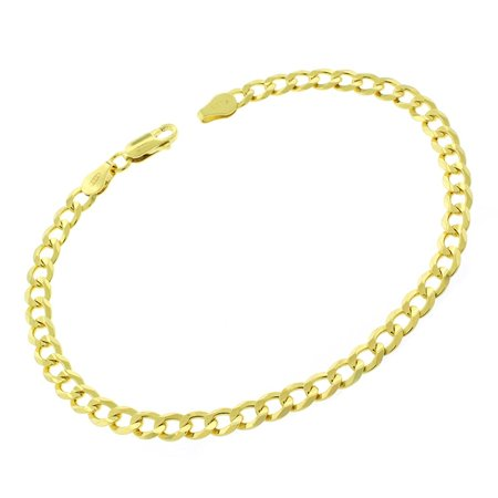 9 Inch Curb Chain Bracelet - Sterling Silver Italian 5mm Cuban Curb Link ITProLux Solid 925 Yellow Gold Plated Bracelet Chain 9
