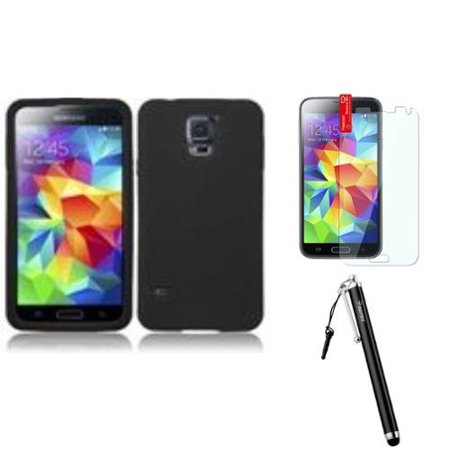 quality design 6af63 0711a Insten For Samsung Galaxy S5 Silicone Skin Cover Case Black+Protector+Stylus