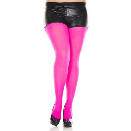 3735c22160163 FashionFirst - Plus Size Opaque Tights - Hot Pink - Walmart.com