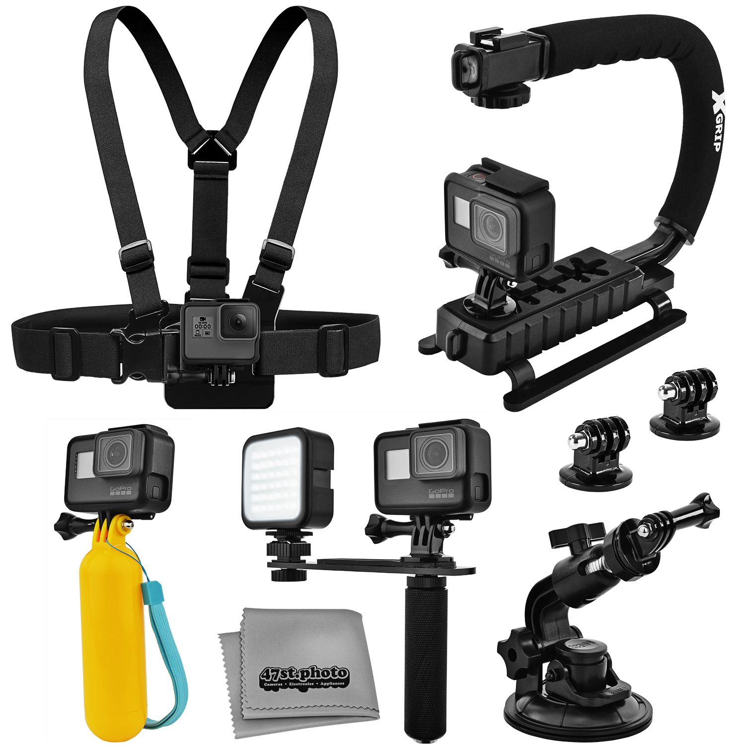 Accessory Kit for GoPro HERO5 Black / Session 4K Action Camera with X-Grip Stabilizer, HandGrip, Floating Handle, LED Video Light, Chest Mount, Tripod Adapter, Car Window Suction Cup, Microfiber Cloth GPH5BACCK1
