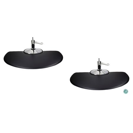 Berkeley Semi-Circle Salon Mat 3' x 5'  EXTRA-THICK (Set of 2) BLACK Anti-fatigue Mat for Salon or Barber Shop ()