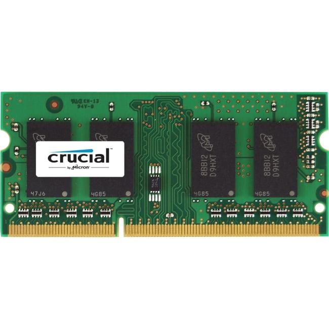 Crucial 2GB DDR3 SDRAM Memory Module - 2 GB (1 x 2 GB) - DDR3 SDRAM - 1066 MHz DDR3-1066/PC3-8500 - 1.50 V - Non-ECC - Unbuffered - 204-pin - SoDIMM