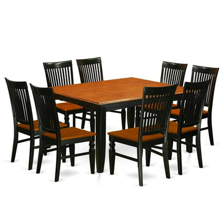 Kitchen Table Set with a Dining Table & 8 Wood Seat Chairs ...