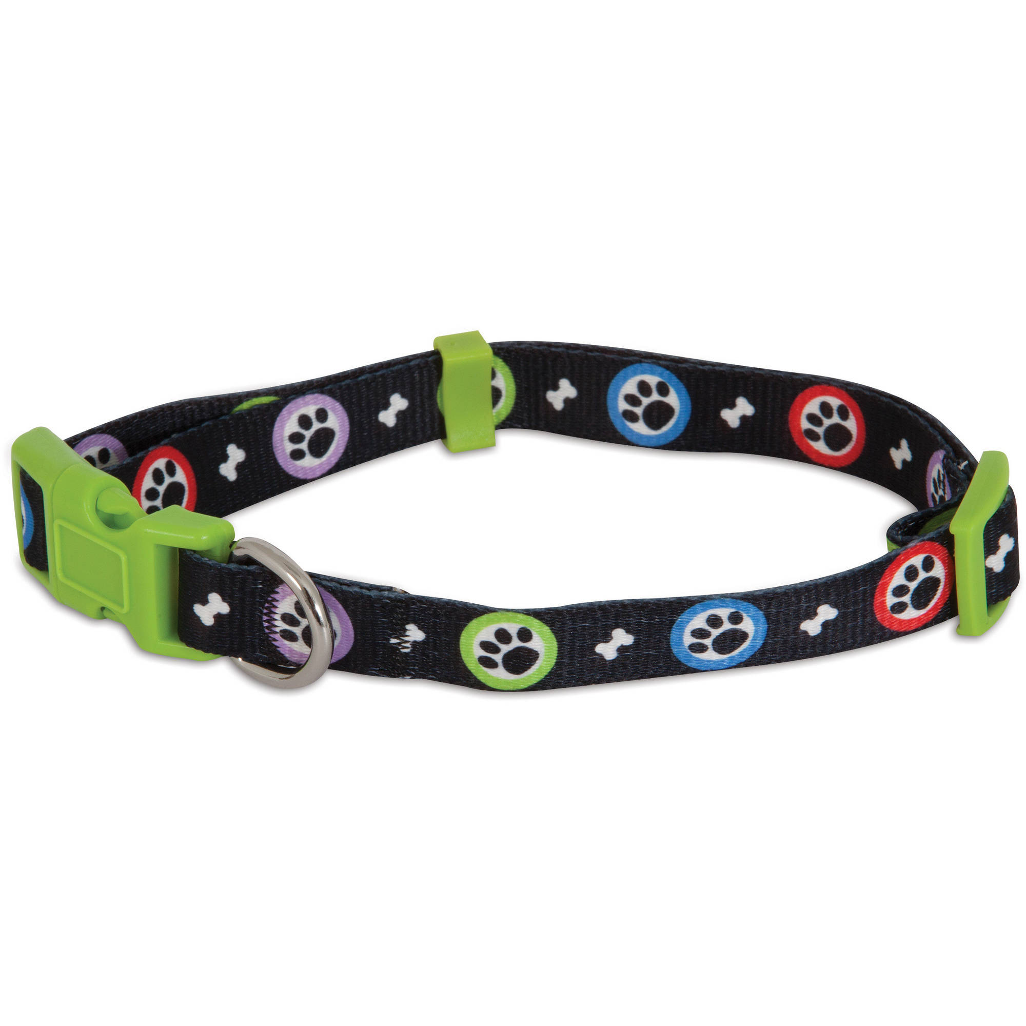 Aspen Pet Adjustable Dog Collar Paws Print, (Small)