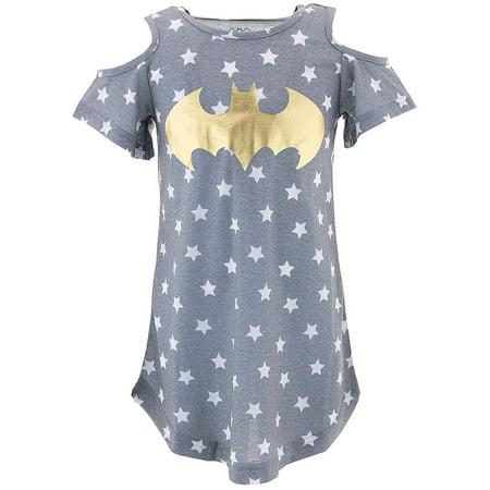 DC Comics Batgirl Logo Cold Shoulder Nightgown - Superhero Nightgown