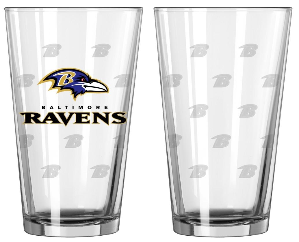 Baltimore Ravens Satin Etch Pint Glass Set by Boelter Brands