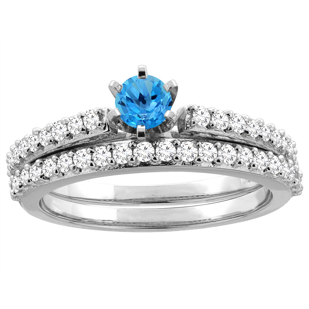 14K White Gold Natural Swiss Blue Topaz 2-piece Bridal Ring Set Round 4mm, size 5