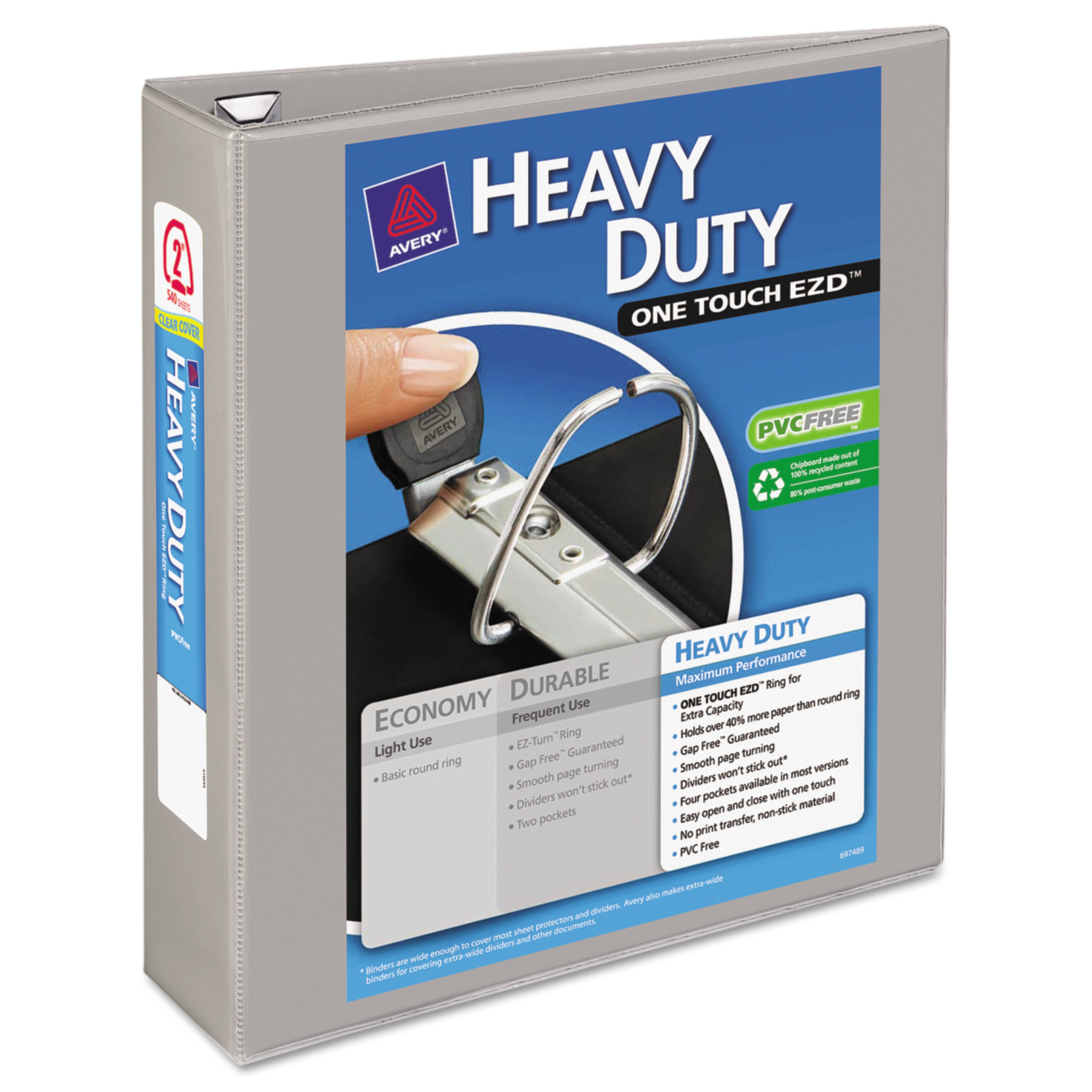 "Avery Heavy-Duty View Binder w/Locking 1-Touch EZD Rings, 2"" Cap, Gray"