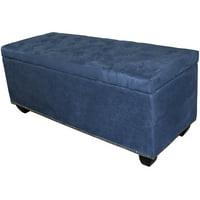 """18"""" Tufted Blue Suede Storage Bench"""