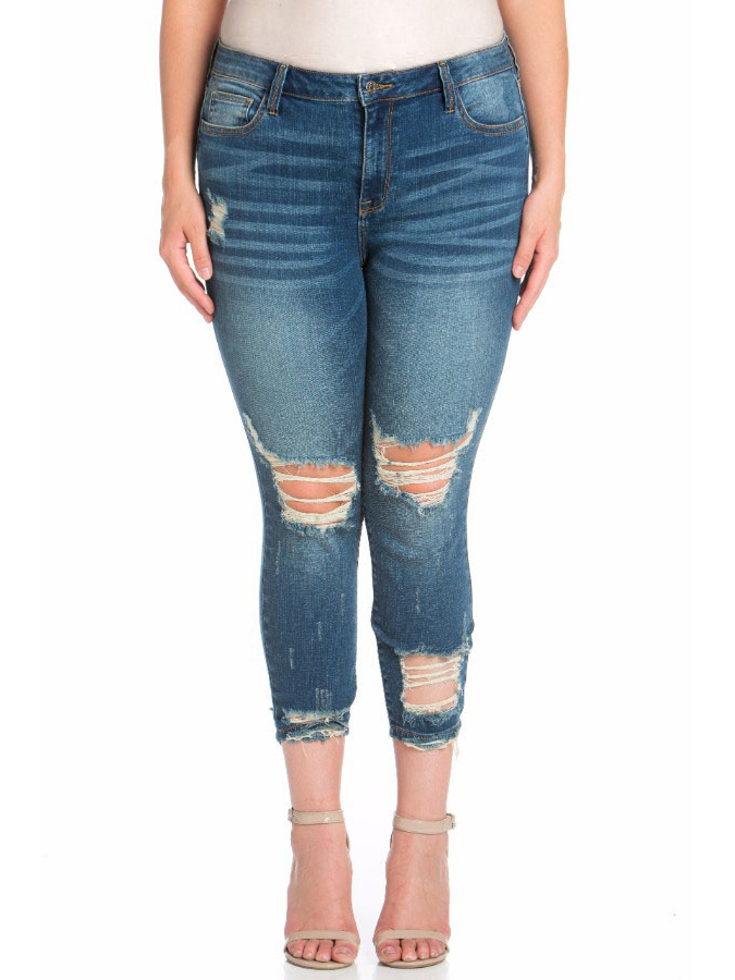 Juniors' Plus Size Mid Rise Destructed Crop Skinny Jean with Ankle Destroy
