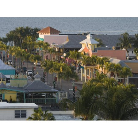 Dawn Over the Commercial District, Fort Myers Beach, Florida Print Wall Art By Walter (Fort Myers On A Map Of Florida)