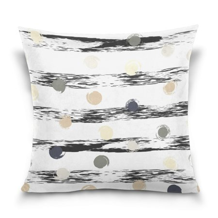 Hand Painted Stripes - POPCreation Dot And Stripe Hand Painted Throw Pillow Case Vintage Cushion Cover 20x20 inches