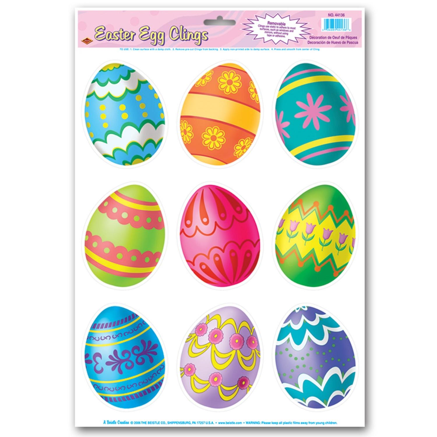 """Club Pack of 108 Vibrant Multi-Colored Easter Egg Window Cling Decorations 17"""""""