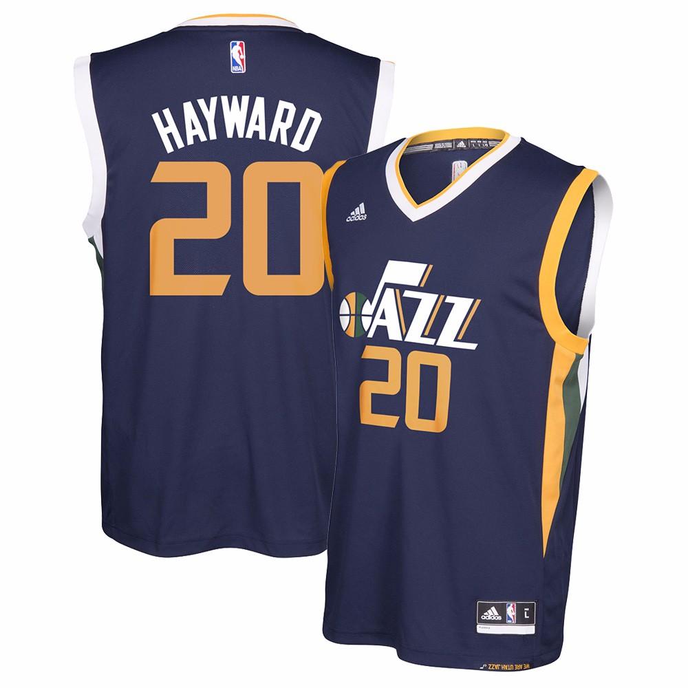 Gordon Hayward Utah Jazz NBA Adidas Men's Navy Official Away Replica Jersey