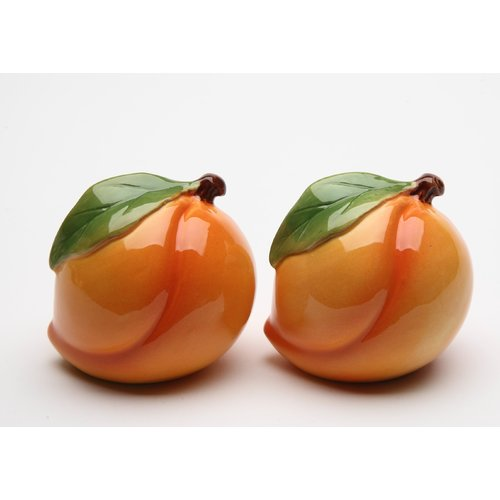 Click here to buy Cosmos Gifts Peach Salt and Pepper Set by Cosmo Gift Corp.