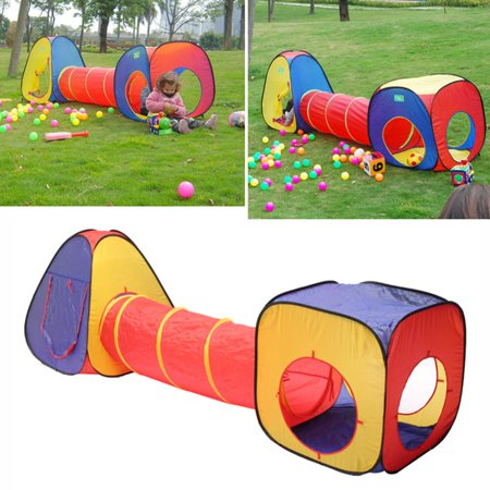 the best attitude 49e3b a674f 3 In 1 Children Kids Baby Foldable Play Tent with Tunnel Outdoor Indoor  Ball Pit Toddlers Pets Playhouse Game Tent