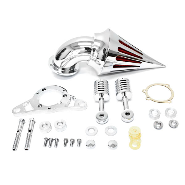 Krator Harley Davidson Softail Night Train Fat Boy Dyna Super Glide Low Rider Wide Glide Touring Road King Road Glide Chrome Aluminum Cone Spike Air Cleaner Kit Intake Filter Motorcycle (2001-2009)