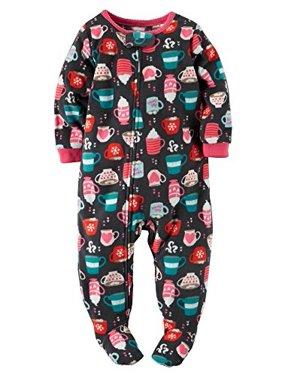 Carter's Baby Girls' Holiday Microfleece 1 Piece Footed Sleeper Pajamas